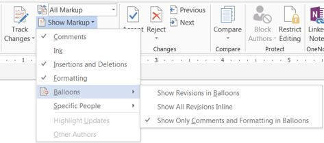track changes mode in ms word