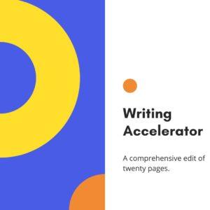 Writing Accelerator fiction editing